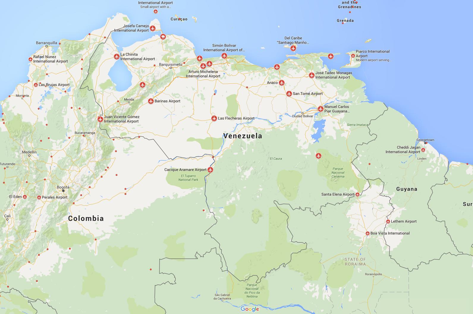 Venezuela Lentokentat Kartalla Kartta Georgia Lentokentat Etela